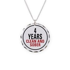 4 Years Clean & Sober Necklace Circle Charm