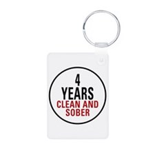4 Years Clean & Sober Keychains