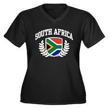 South Africa Women's Plus Size V-Neck Dark T-Shirt