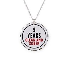 9 Years Clean & Sober Necklace Circle Charm