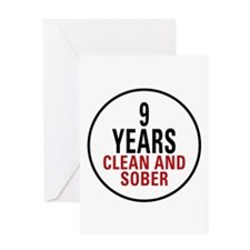 9 Years Clean & Sober Greeting Card