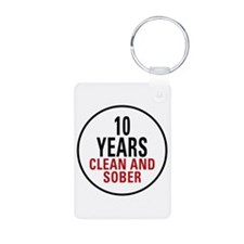 10 Years Clean & Sober Keychains