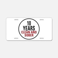 10 Years Clean & Sober Aluminum License Plate