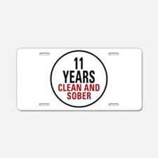 11 Years Clean & Sober Aluminum License Plate