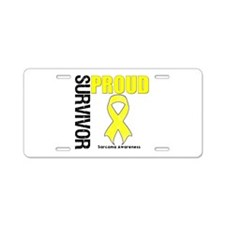Sarcoma Proud Survivor Aluminum License Plate