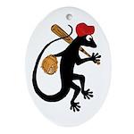 Baseball Gecko Ornament (Oval)