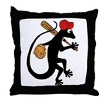 Baseball Gecko Throw Pillow