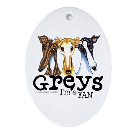 Greys Fan Funny Ornament (Oval)