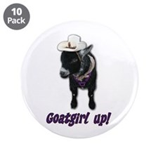 """Pygmy Goat Girl Up 3.5"""" Button (10 pack)"""