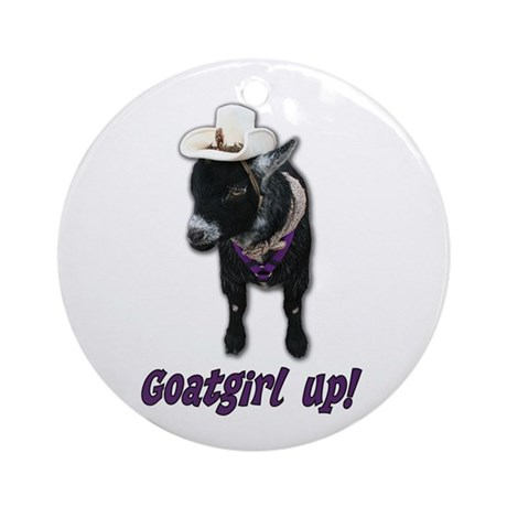 Pygmy Goat Girl Up Ornament (Round)