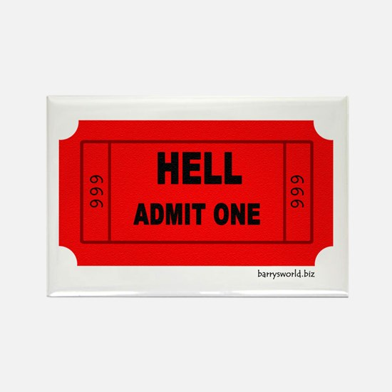 Ticket To Hell Rectangle Magnet (10 pack)