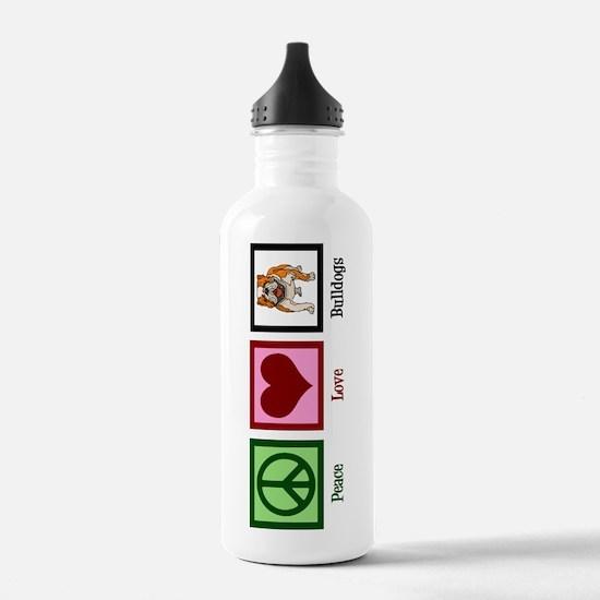 Peace Love Bulldogs Water Bottle