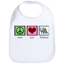 Peace Love Dinosaurs Bib
