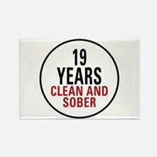 19 Years Clean & Sober Rectangle Magnet