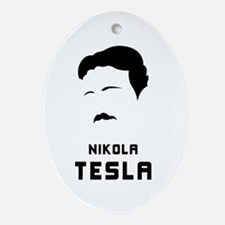 Nikola Tesla Silhouette Ornament (Oval)