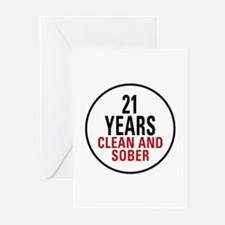 21 Years Clean and Sober Greeting Cards (Pk of 10)