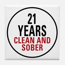 21 Years Clean and Sober Tile Coaster