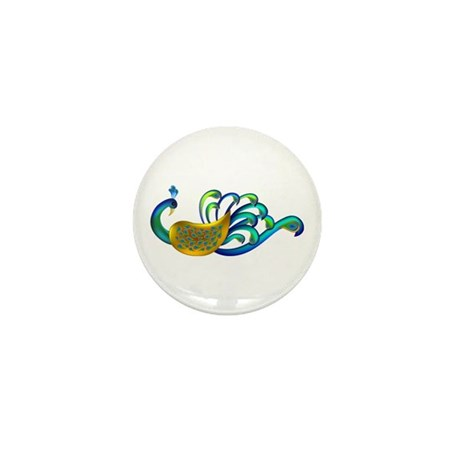 Abstract Peacock Mini Button (100 pack)