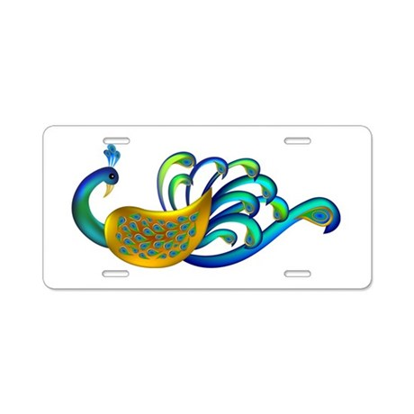 Abstract Peacock Aluminum License Plate