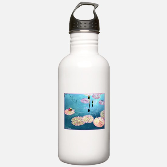 Water Lilies, colorful, Sports Water Bottle