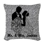 Silhoutte Bride & Groom Silver Woven Throw Pil