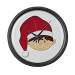 Cute Christmas Elf Large Wall Clock