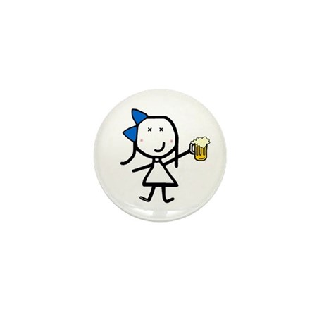 Girl & Beer Mini Button (10 pack)