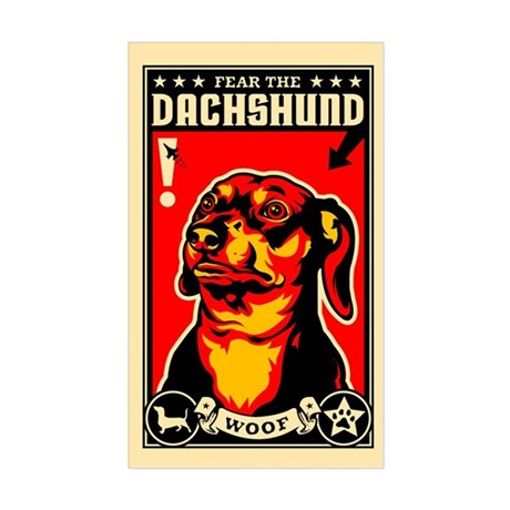 Fear the DACHSHUND! propaganda Sticker