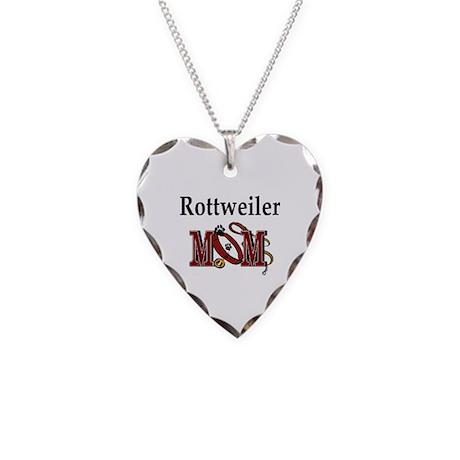 Rottweiler Mom Necklace Heart Charm