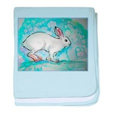 Rabbit! wildlife, winter, art!! baby blanket
