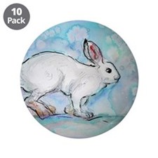 "Rabbit! wildlife, winter, art!! 3.5"" Button (10 pa"