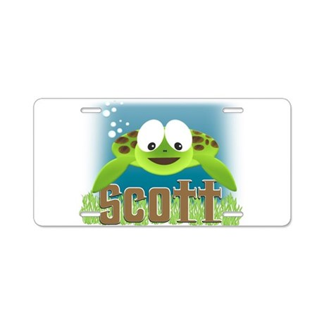 Adorable Scott Turtle Aluminum License Plate