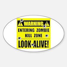 WARNING: Zombie Kill Zone Sticker (Oval)