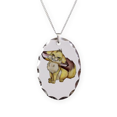Jade The Fennec Fox Necklace Oval Charm