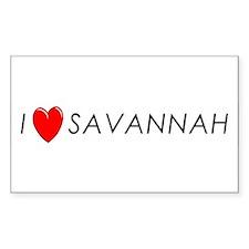 I Love Savannah Rectangle Decal