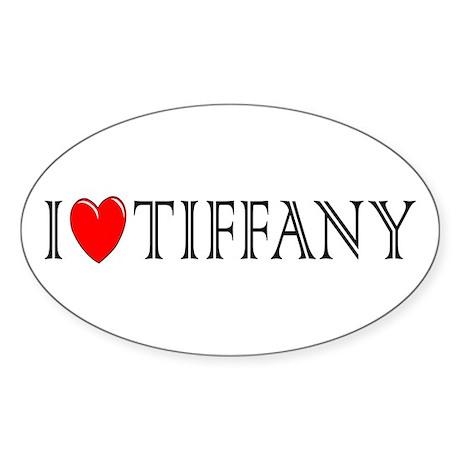 I Love Tiffany Oval Sticker