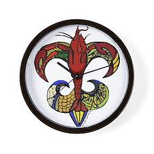 Crawfish Boil Fleur De Lis Wall Clock