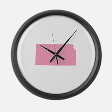 Kansas - Pink Large Wall Clock