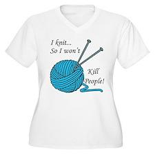 I knit Women's Plus Size V-Neck T-Shirt