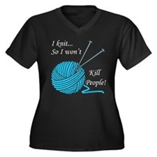 I knit Women's Plus Size V-Neck Dark T-Shirt
