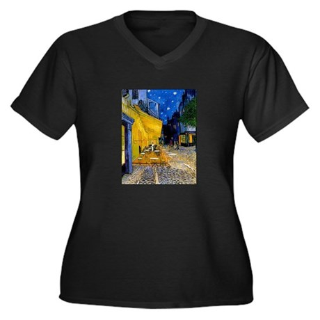Cafe Terrace at Night Women's Plus Size V-Neck Dar