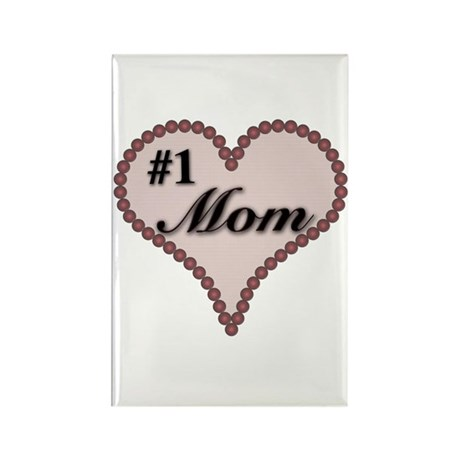#1 Mom Heart Rectangle Magnet