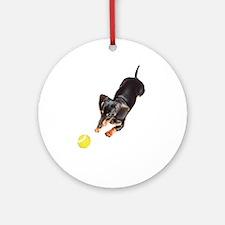 'Lily Plays Dachshund Dog' Ornament (Round)