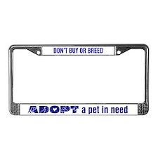 Blue Adopt License Plate Frame