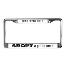 Grey Adopt License Plate Frame