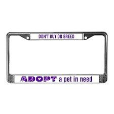 Purple Adopt License Plate Frame