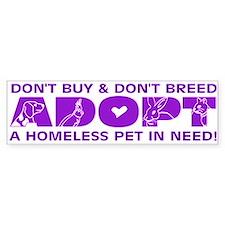 Purple Adopt Bumper Bumper Stickers