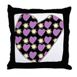 Purple Love Fireworks Heart Throw Pillow