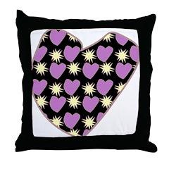 Purple Love Fireworks Heart Throw Pillow