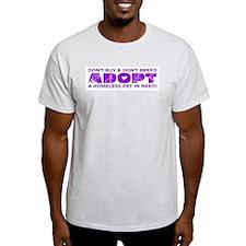 Purple Adopt Ash Grey T-Shirt